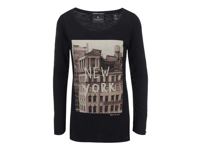Černé tričko s dlouhým rukávem Maison Scotch