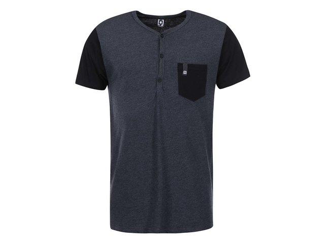 Šedo-černé pánské triko s náprsní kapsou Horsefeathers March