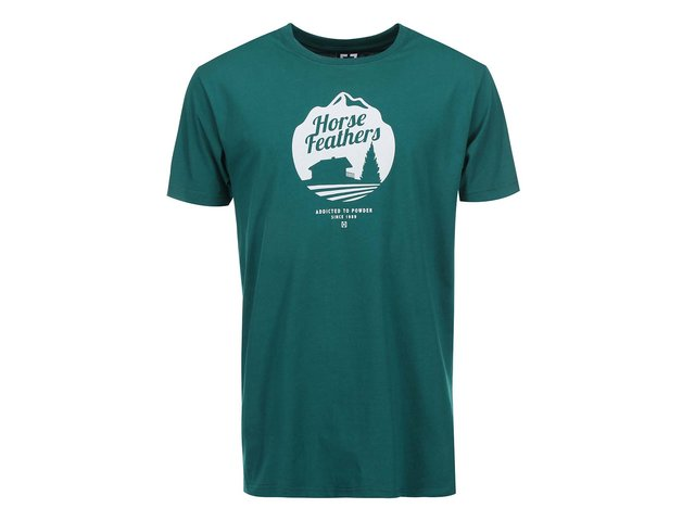 Zelené pánské triko s potiskem Horsefeathers Cabin