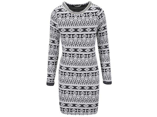 Bílé šaty s šedým vzorem ONLY Olympia