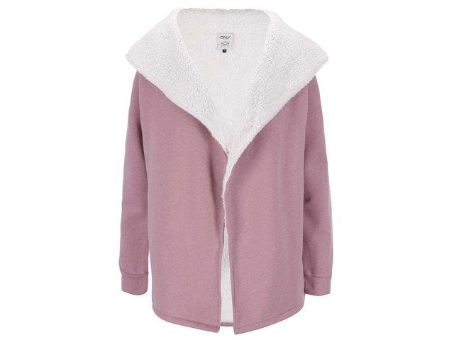 Růžový mikinový cardigan s kožíškem ONLY Valda