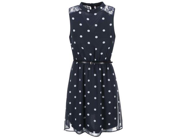 Tmavě modré šaty s puntíky a krajkou ONLY Balio