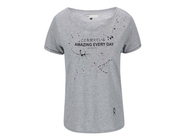 Šedé tričko s japonským potiskem ONLY Noomi