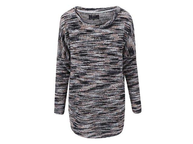 Šedo-krémový žíhaný svetr ONLY Tracy