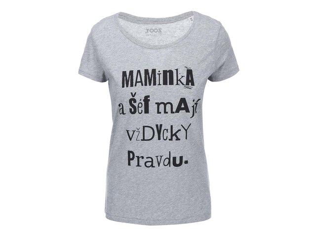 Světle šedé dámské tričko ZOOT Originál Maminka a šéf