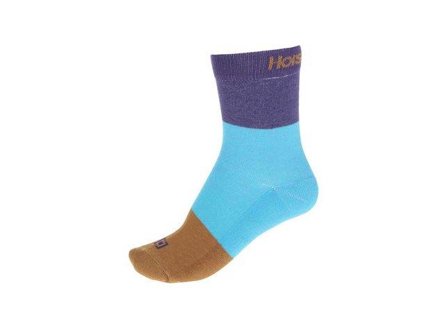 Hnědo-modro-fialové dámské ponožky Horsefeathers Split