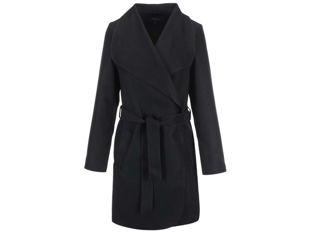 Černý kabát na zavazování VILA Ida