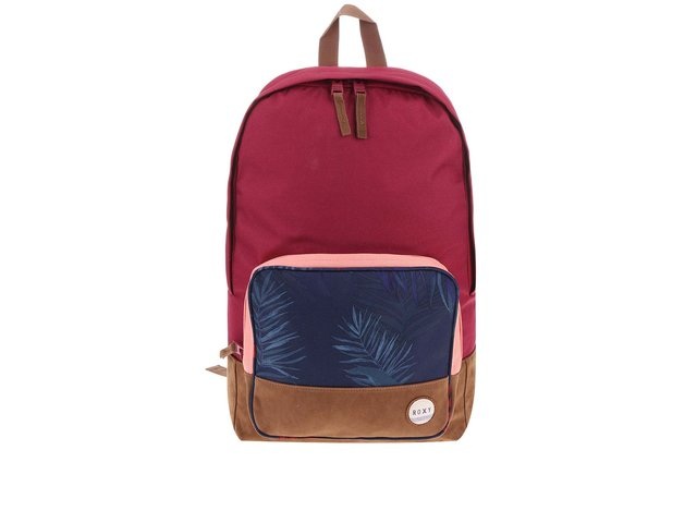 Růžovofialový batoh s vzorovanou kapsou Roxy Pinksky