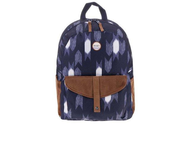 Modrý batoh s bílým designem a hnědými doplňky Roxy Carribean