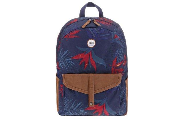 Modrý batoh s barevným motivem listů a hnědými doplňky Roxy Carribean