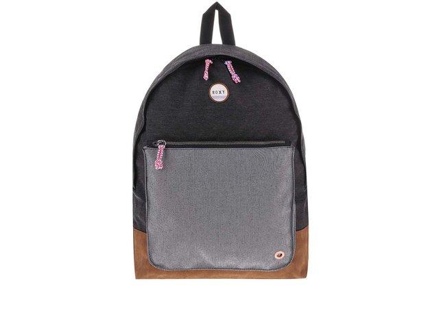 Tmavě šedý batoh s velkou šedou kapsou Roxy Frozen Bag