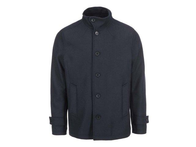Tmavě modrý vlněný kabát Jack & Jones Memento