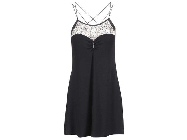 Černá noční košilka s krajkou Lisca Lyra