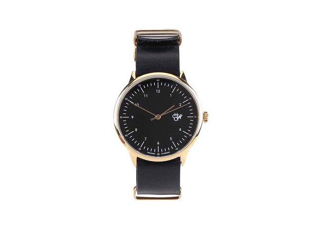 Černé unisex kožené hodinky Cheapo Harold Gold