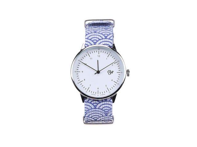 Modro-bílé dámské hodinky se vzorem vlny Cheapo Harold Wave