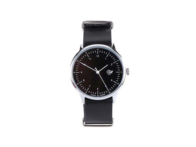 Černé unisex kožené hodinky Cheapo Harold