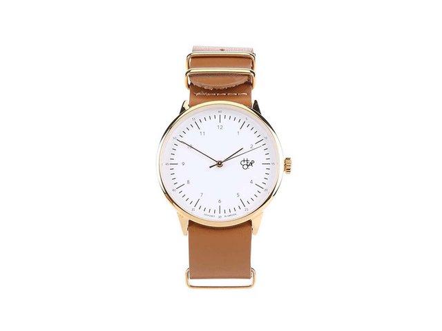 Hnědé unisex kožené hodinky Cheapo Harold Gold