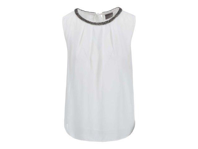 Bílý top s ozdobným dekoltem Vero Moda Simone