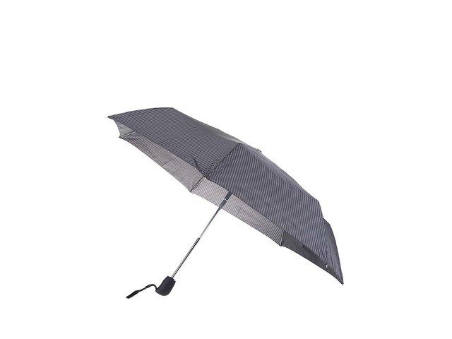 Černý vystřelovací deštník s šedými pruhy Derby