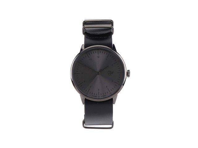 Černé unisex kožené hodinky Cheapo Harold Metal