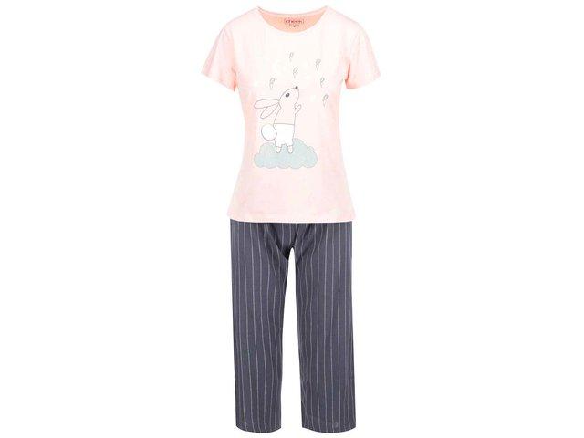 Šedo-růžový pyžamový komplet Lisca Wittily