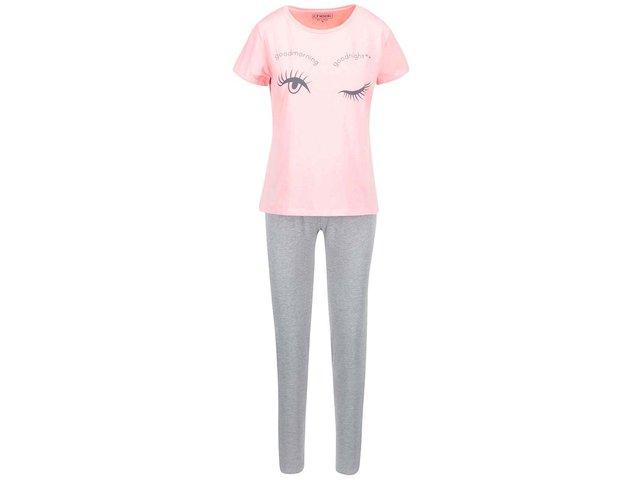 Šedo-růžový pyžamový komplet Lisca Blink
