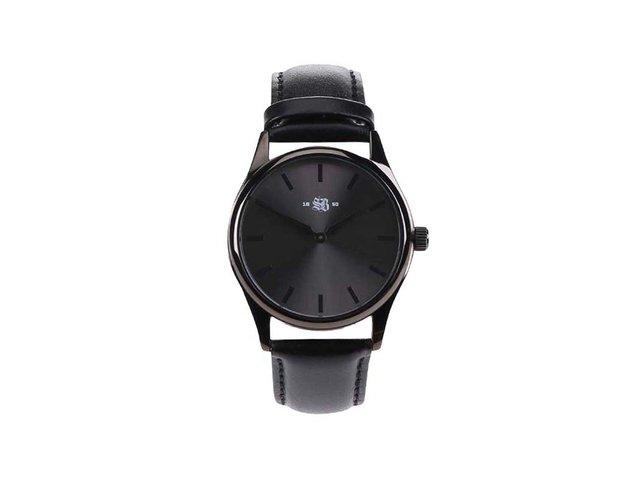 Černé pánské kožené hodinky Cheapo SB 1650