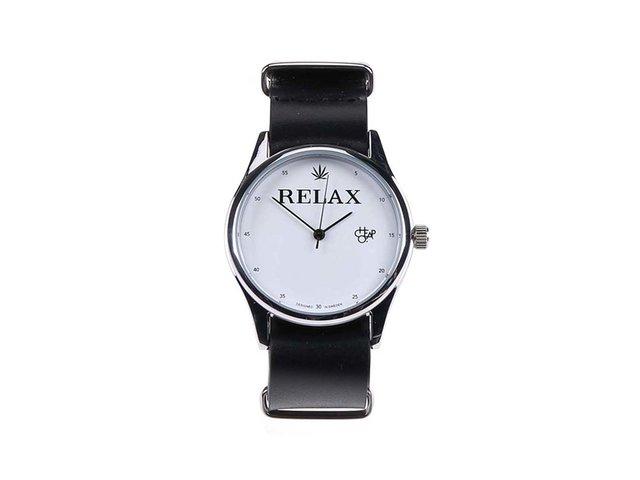 Černé unisex kožené hodinky Cheapo Relax