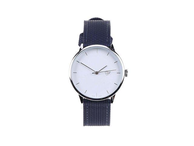 Modré unisex minimalistické hodinky Cheapo Khorshid White