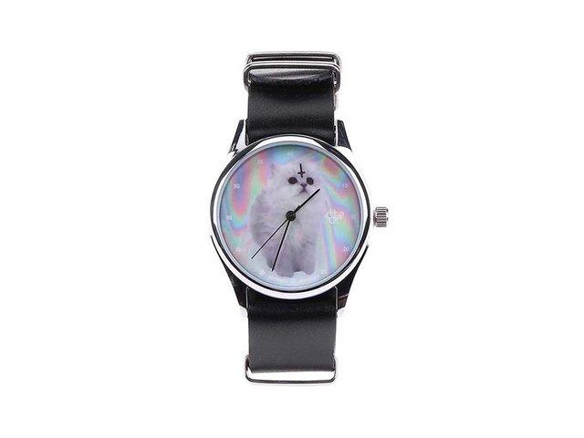 Černé unisex kožené hodinky s kočičkou Cheapo Cat