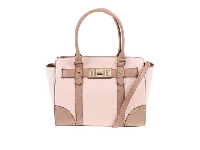 Hnědo-růžová kabelka s přezkou ve zlaté barvě ALDO Marana