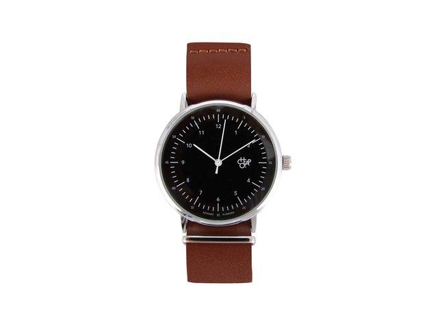 Černo-hnědé unisex kožené hodinky Cheapo Harold