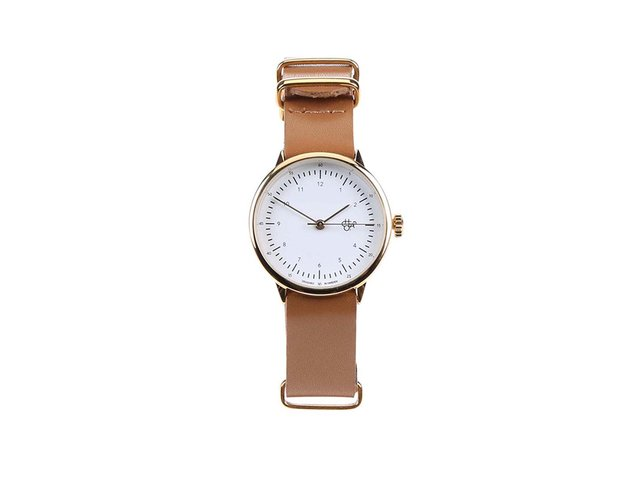 Hnědé dámské kožené hodinky Cheapo Harold Mini Gold