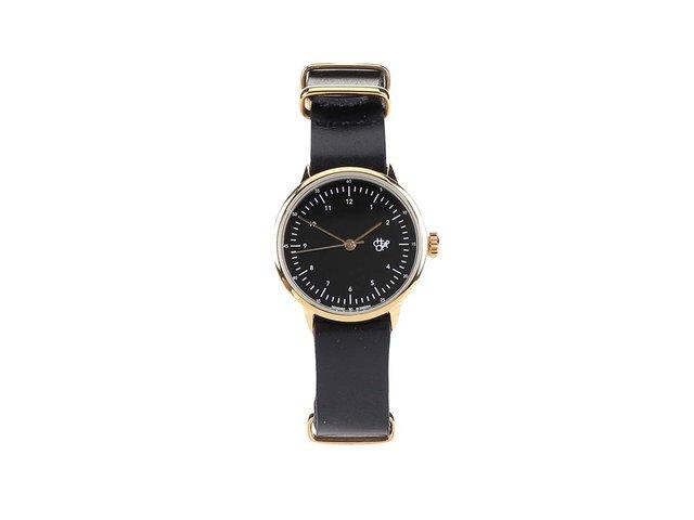 Černé dámské kožené hodinky Cheapo Harold Mini Gold