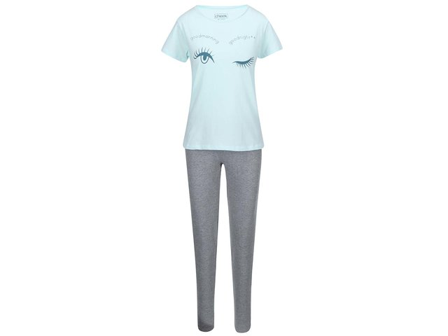 Šedo-mentolový pyžamový komplet Lisca Blink