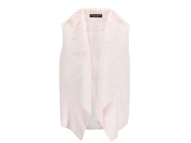 Světle růžová vesta s krémovým kožíškem Dorothy Perkins