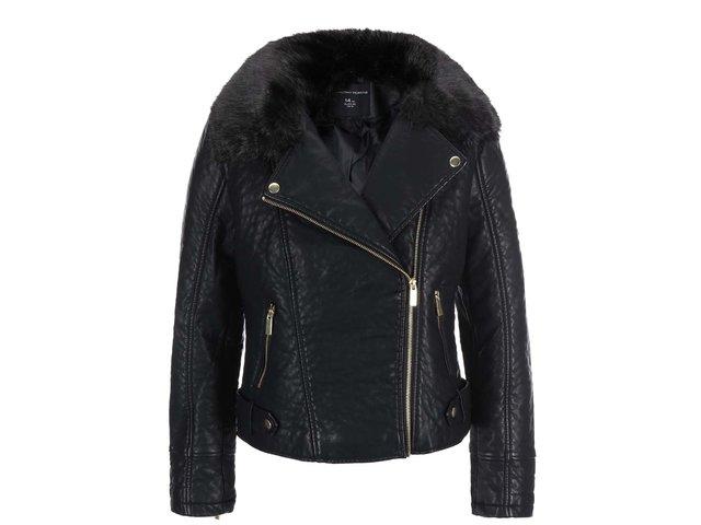 Černá koženková bunda s umělou kožešinou Dorothy Perkins