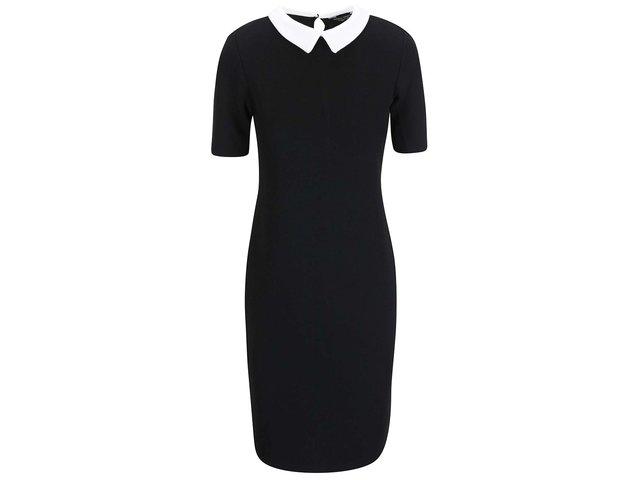 Černé strečové šaty s bílým límečkem Dorothy Perkins