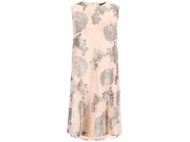 Meruňkové šaty s flitrovou aplikací Dorothy Perkins