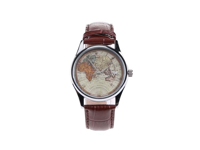 Tmavě hnědé pánské kožené hodinky s mapou Cheapo Vintage World