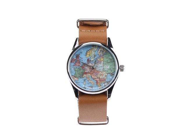 Hnědé unisex kožené hodinky s mapou Cheapo Europé
