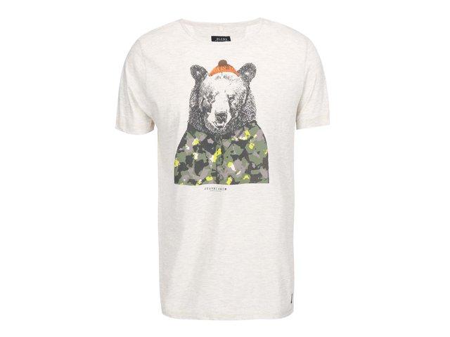 Krémové žíhané triko s potiskem medvěda Blend