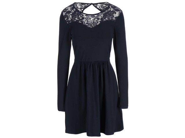 Tmavě modré šaty s krajkovým detailem ONLY Niella
