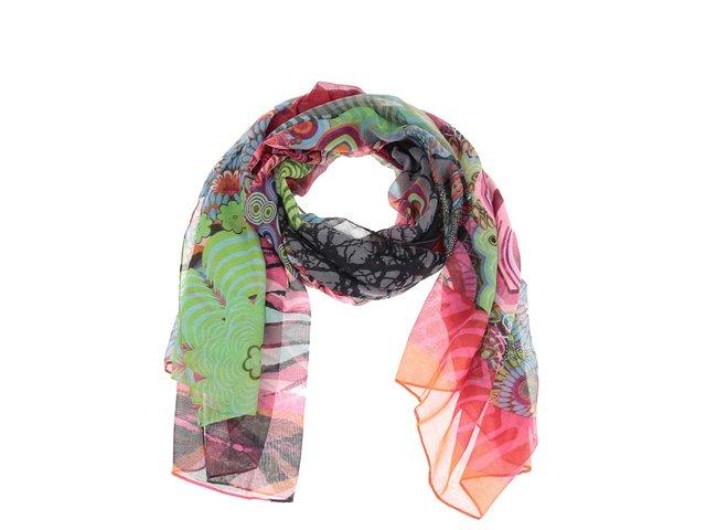 Barevný vzorovaný šátek Desigual Seducio Carry