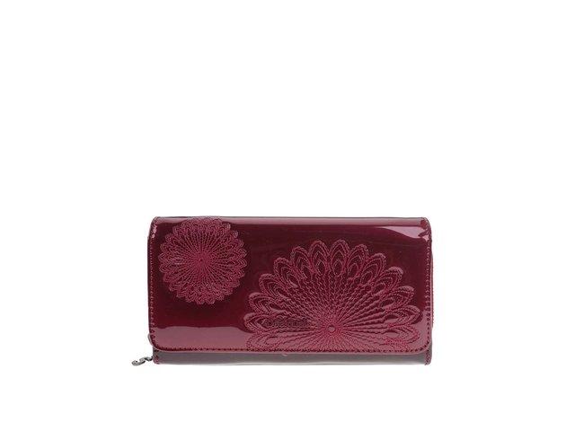 Vínová velká lesklá peněženka s ornamenty Desigual Maria Kate