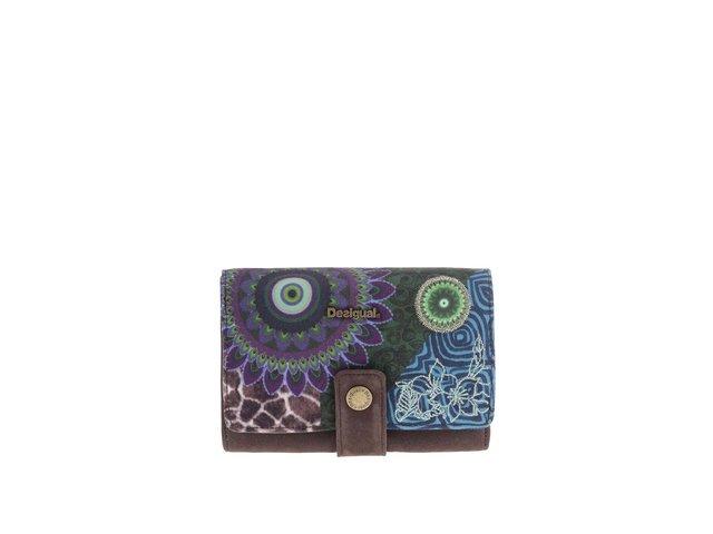 Zeleno-hnědá vzorovaná peněženka Desigual
