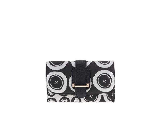 Bílo-černá vzorovaná peněženka se stříbrnými odlesky Desigual