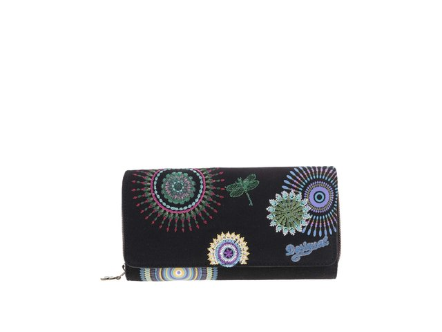Černá peněženka s barevnou výšivkou Desigual