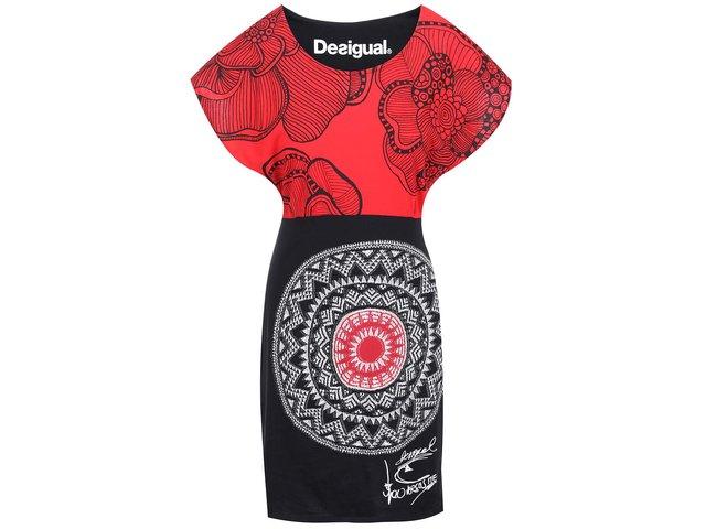 Červeno-černé šaty se vzorem Desigual Idem