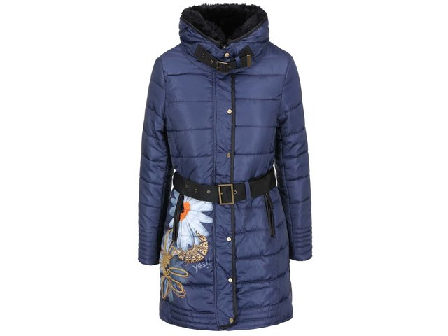Modrý kabát se vzorem Desigual Napoles
